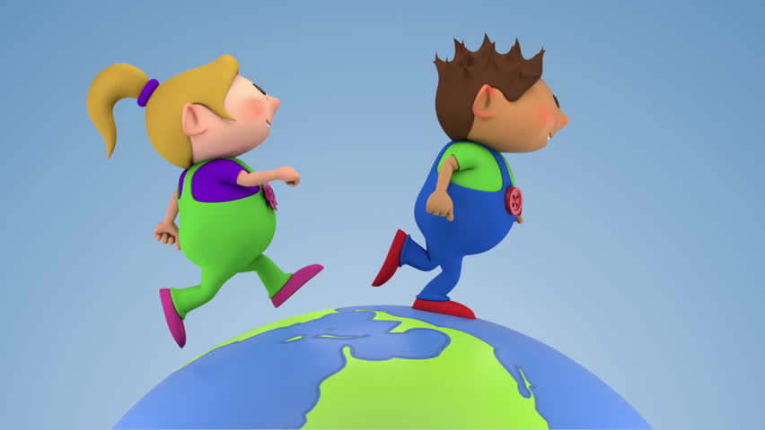 two cute kids running around a spinning globe - high quality 3d animation - loopable