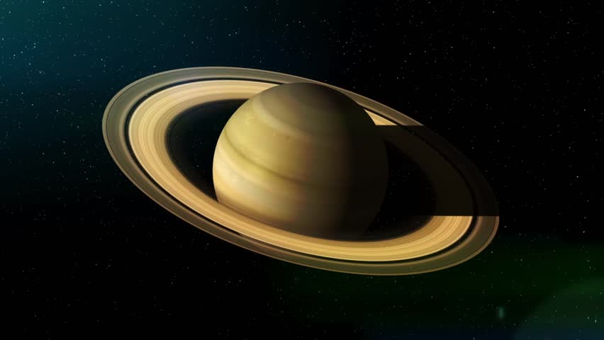Rotation Of The Planet Saturn Hd Realistic Imaging Of