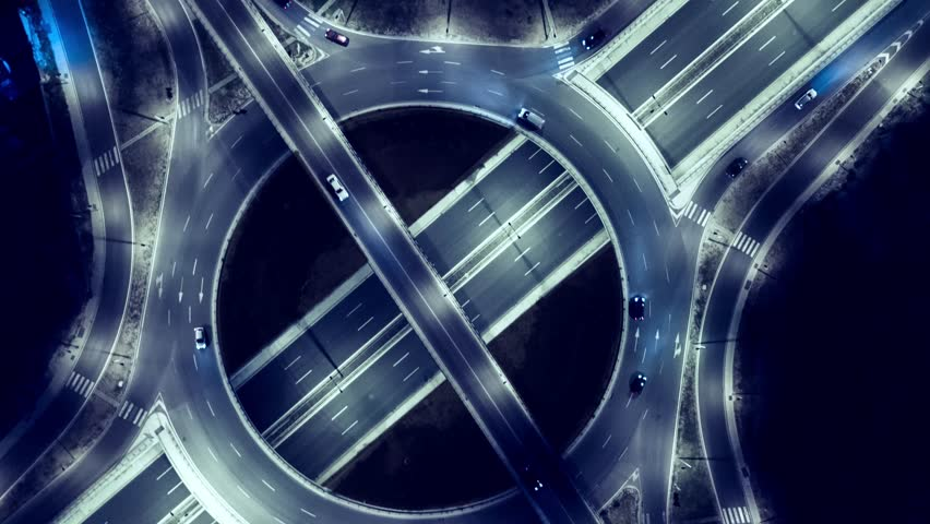 Elevated Road Junction And Interchange Overpass At Night Timelapse  | Shutterstock HD Video #21575260