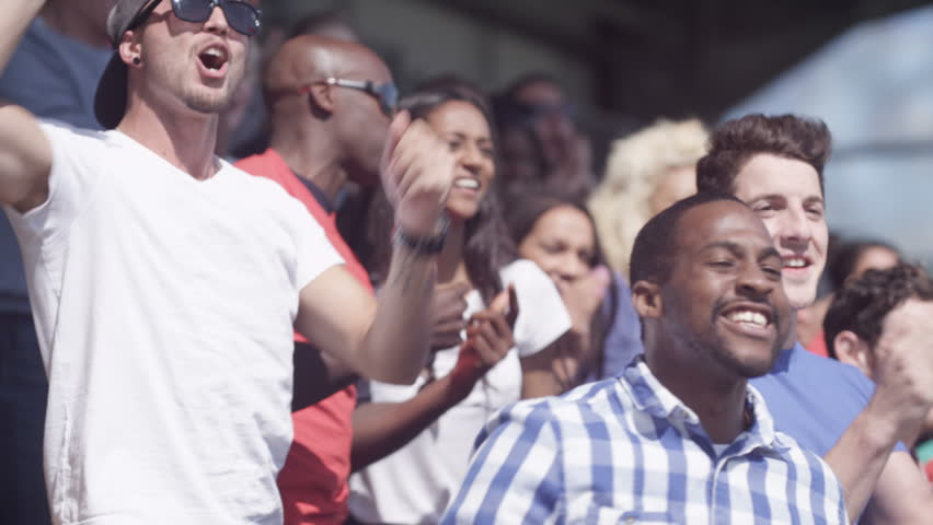 4K Sports crowd celebrating, watching the game and cheering (UK-Oct 2016)   Shutterstock HD Video #21604201