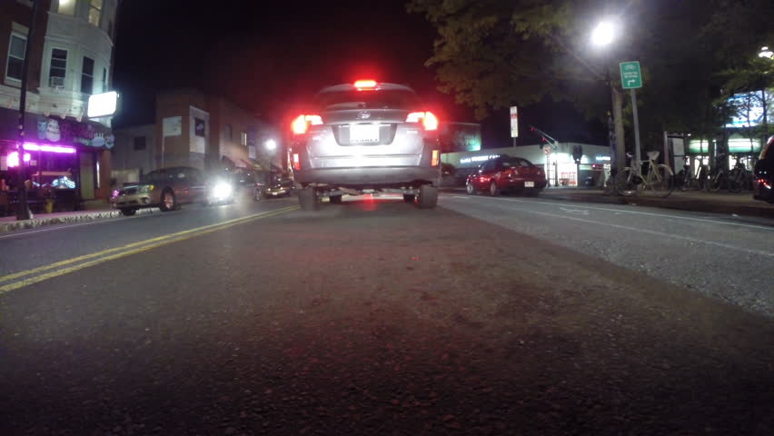 Gopro Attached To Bumper Of Car At Night