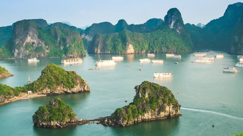 Time lapse view of Ha Long Bay, North Vietnam - zoom out.