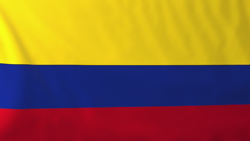 Flag of Colombia. Rendered using official design and colors. Seamless loop.