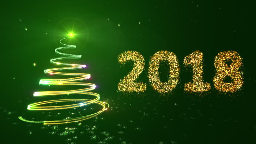 New Year Background With Bright Snow And A Christmas Tree. Green ...