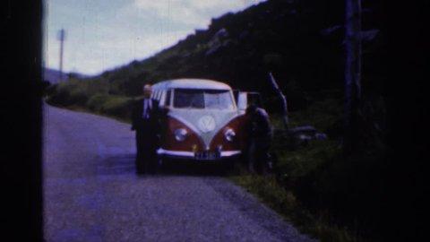 IRELAND 1961: vw bus breakdown by side of road