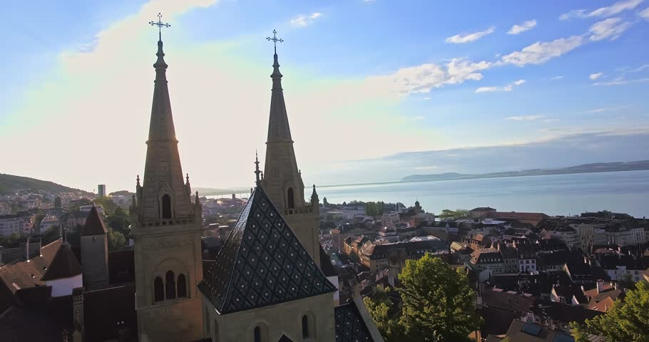 Aerial view of Collegiale Church in Neuchatel, Switzerland | Shutterstock HD Video #21755032