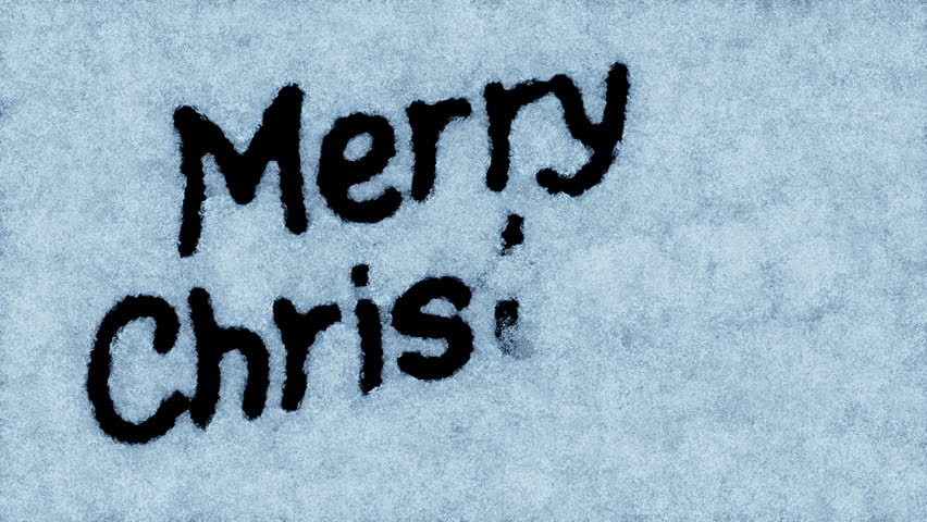 Beautiful Animation of the Text Appearing on the Snow. Merry Christmas Theme. HD 1080.