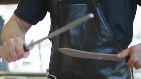 Slow Motion Butcher Knife Sharpening