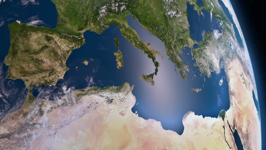 Earth view from space. Mediterranean.