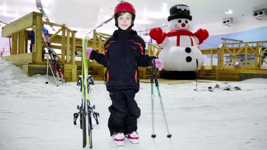 Girl ski swinging