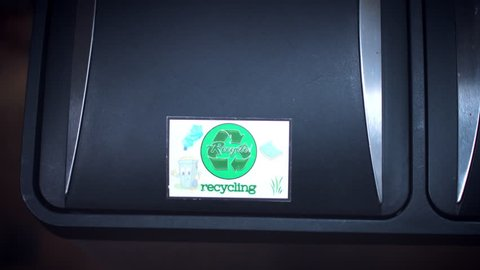 4k Shot of Recycle Bin, Throwing to Trash Plastic Bag