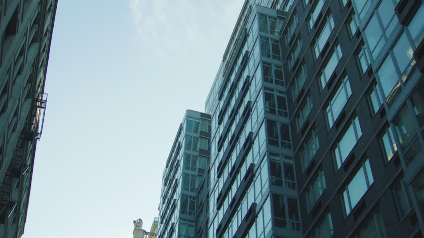 Day Up Angle Raked Right Hold Then Push Glass Large Modern Apartment  Condominium Office Building,