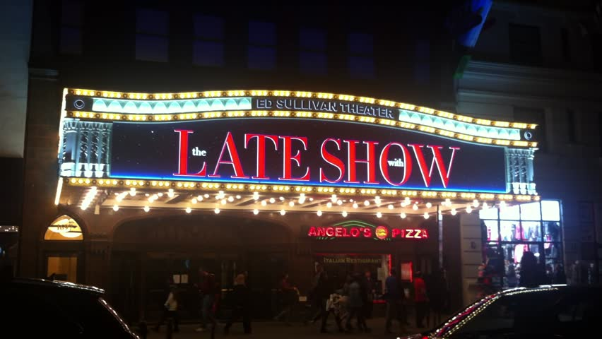 March 31, 2016: New York City - The marquee of The Ed Sullivan Theater which is the current home of the American late-night talk show The Late Show with Stephen Colbert.