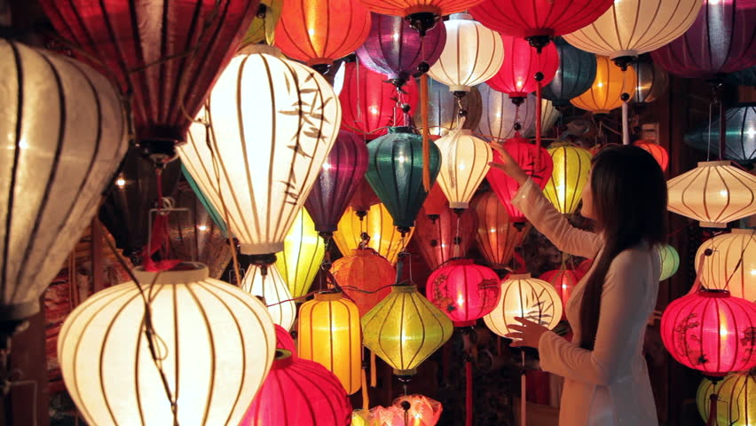 MH LD Young Woman Looking at Colorful Lanterns / Hoi An, Vietnam