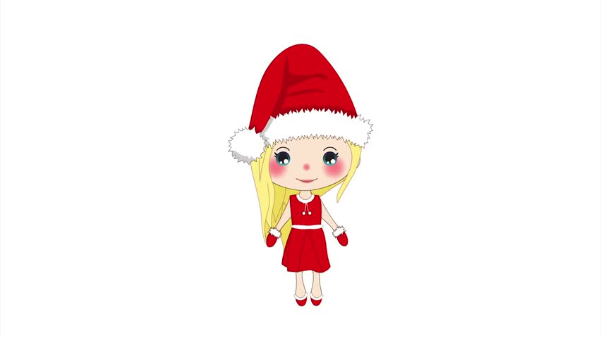 f6200283d Merry Christmas with Cute Santa Girl Jumping. Pompom Hat and Outfit Santa  Claus Costume. on a White Screen, Beautiful Young Woman jumping, animated  Female