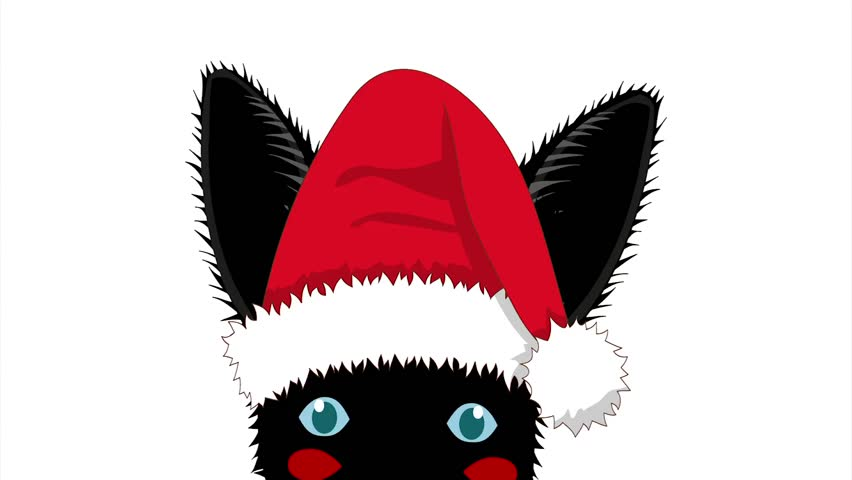 Black rabbit with santa hat sneaking greeting card christmas day black rabbit with santa hat sneaking greeting card christmas day isolated on white screen m4hsunfo Images