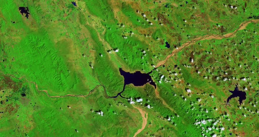 High-altitude overflight aerial of India's Penna River and adjacent farmland. Clip loops and is reversible. Elements of this image furnished by NASA