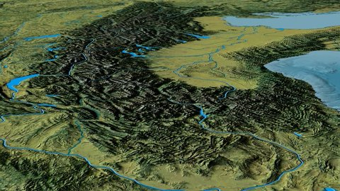 Glide over Alps mountain range - masks. Topographic map. High resolution ASTER GDEM data textured