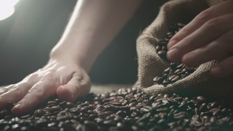 human hands to touch high-quality coffee beans to scatter, bag jute, slow motion