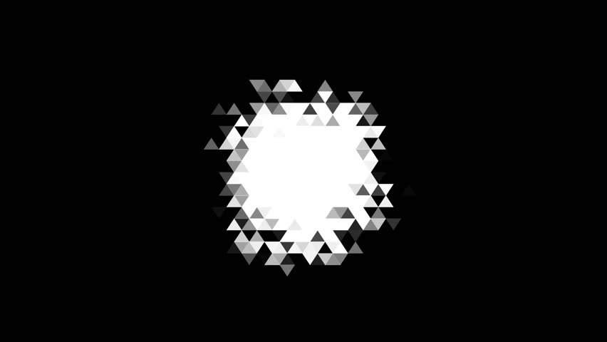 Ultra high quality footage of motion design digital reveal mask made of small mosaic triangles. Blinking pieces of glass. Perfect for masks, transitions, fades, mattes, reveals,. 4K, UHD, HD, 1080p