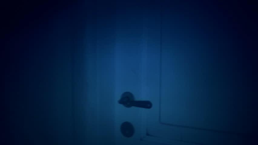 POV moving through haunted house in dark