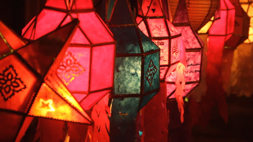 Lanna lanterns at night, Thai lantern festival