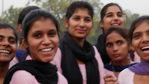 NEW DELHI, INDIA - CIRCA NOVEMBER 2016: Indian Students in New Delhi