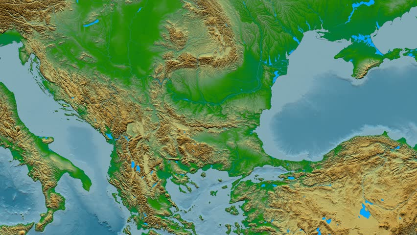 Albania Shape Animated On The Physical Map Of The Globe Rivers - Albania physical map