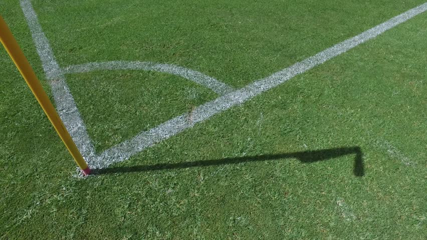 flag corner stadium soccer football field turf steady shot gimbal 4k #21931852
