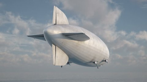 Zeppelin in the sky. Rear view to the dirigible. Includes alpha matte for composing over footage or another background.