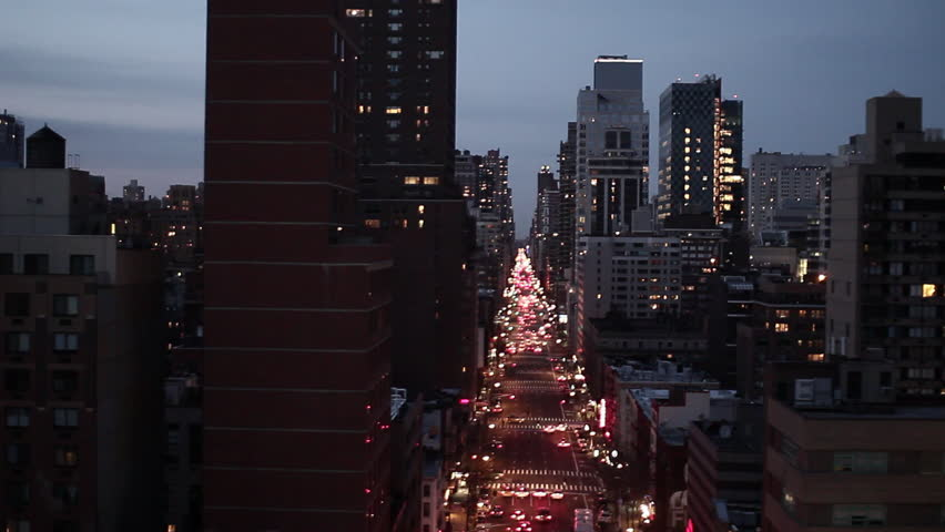 NYC new york city night skyline street areal view