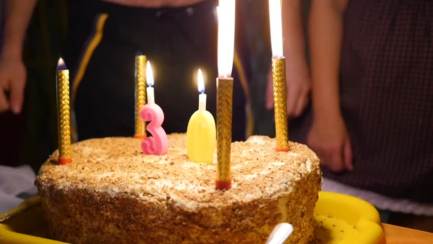 Birthday Cake With Candles Spark Fireworks In Dark Room Stock