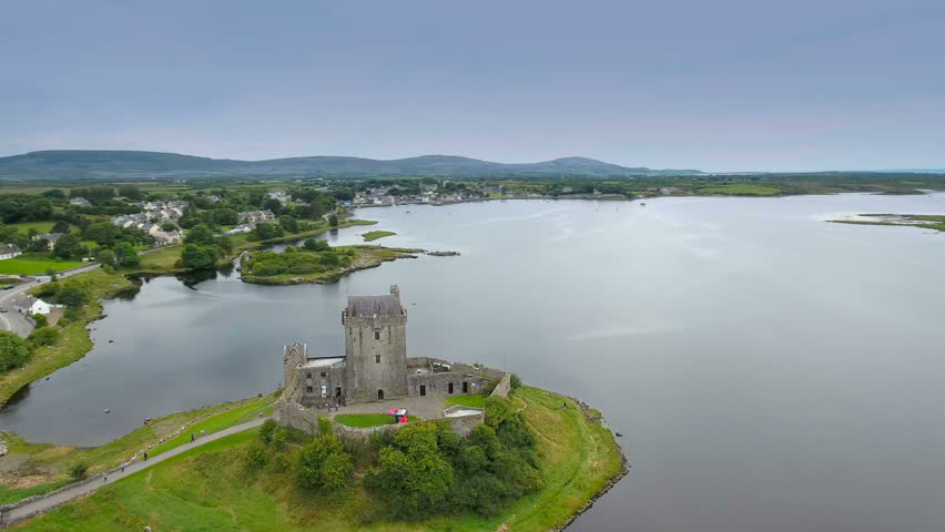Amazing aerial shot of the Dunguaire castle the castle located near the shore in West Irealand