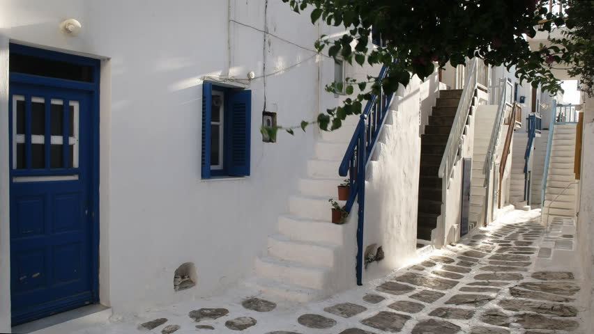 House Steps In The Village Of Chora On The Island Of Mykonos, Greece   4K