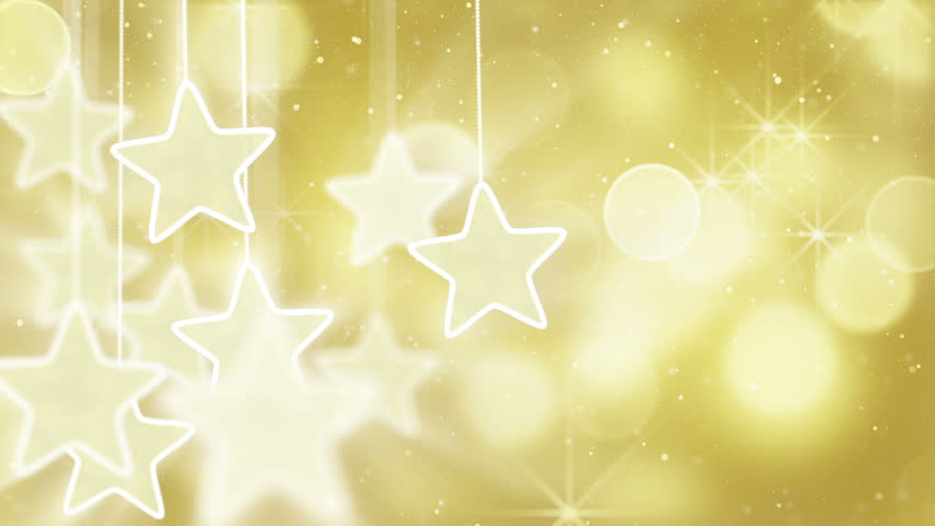 Gold stars dangling on a strings, bokeh lights. computer generated seamless loop abstract motion background HD 1080 progressive   Shutterstock HD Video #2197660