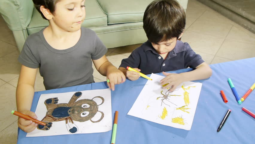 Boys Helping With Coloring Drawing HD Older Brother Shows How To Do It