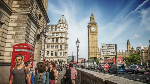 London, England. Circa, 2016. Hyperlapse of the Big Ben on the north end of the Palace of Westminster from Great George Street.