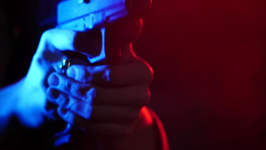 Glock17 Gun close up shoots 3 times