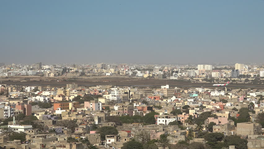 Panoramic view of Dakar, Senegal - airport in the background