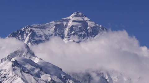 Timelapse of Mount Everest peak, Himalayas, Tibet.