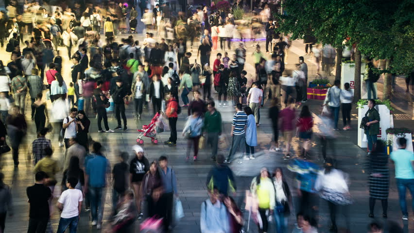 Beijing,China-Oct 2,2016: Timelapse of the customers wander in the Xidan commercial street, Beijing, China.  #22043152