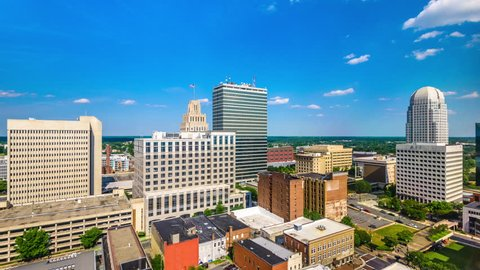 Winston-Salem, North Carolina, USA skyline time lapse.