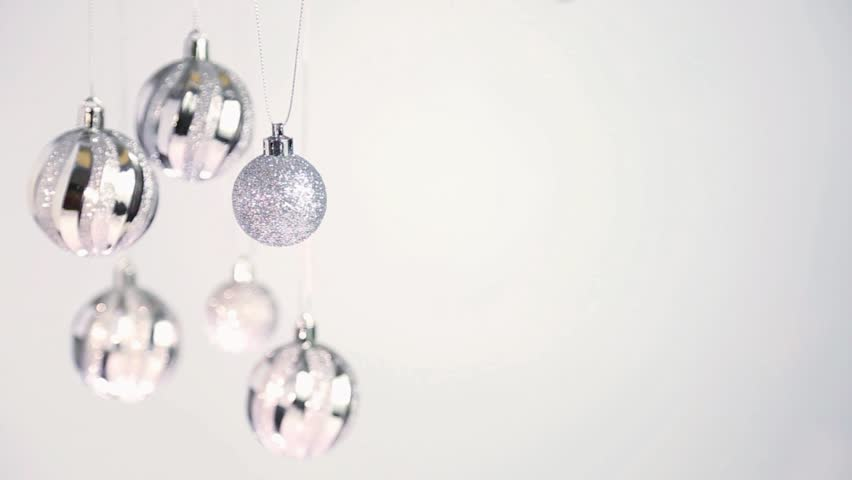 Close up of silver christmas stock footage video 100% royalty free