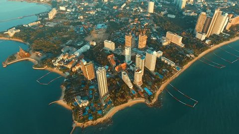 Aerial: High above Pattaya city.