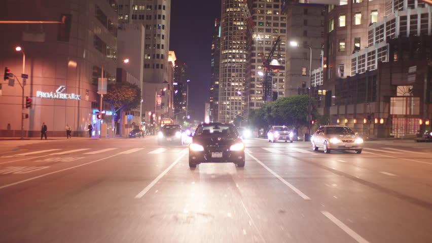 Night process plates moving plates straight back continue driving one way downtown city street stops light end only angle (Nov 2014) | Shutterstock HD Video #22056712