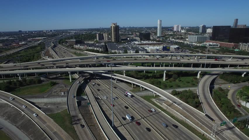 HOUSTON TEXAS TRAFFIC SPAGHETTI BOWL DAY AND NIGHT FROM DRONE | Shutterstock HD Video #22058392
