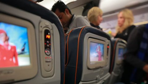 Video passengers in the economy class cabin Aeroflot aircraft. Russia, Moscow, November 2016