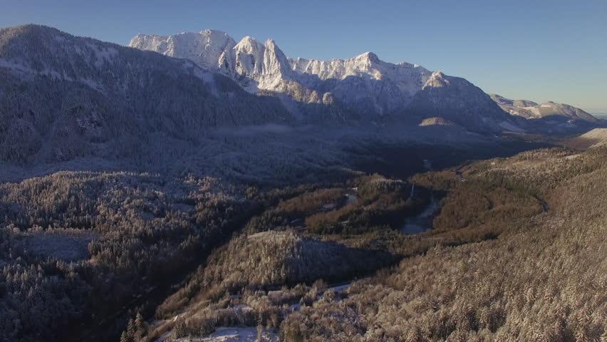 Aerial of Pacific Northwest Landmark Mountain Mount Index in Winter Season | Shutterstock HD Video #22097242
