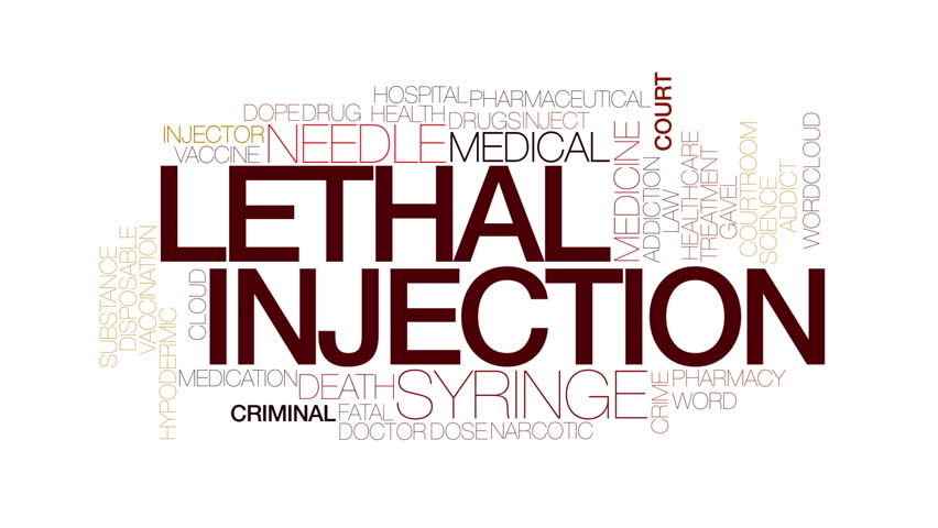 Lethal injection animated word cloud. Kinetic typography.