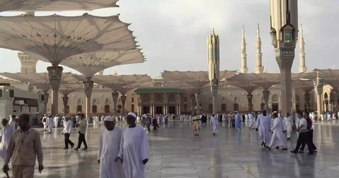 AL MADINAH, SAUDI ARABIA, september 2016, Holy area of haram of mosque Nabawi, Saudi Arabia. Medina mosque is the second holiest and most visited mosque for all Muslims